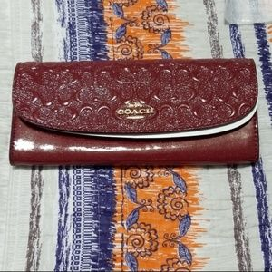 Coach Debossed Patent Leather Soft Wallet F26814